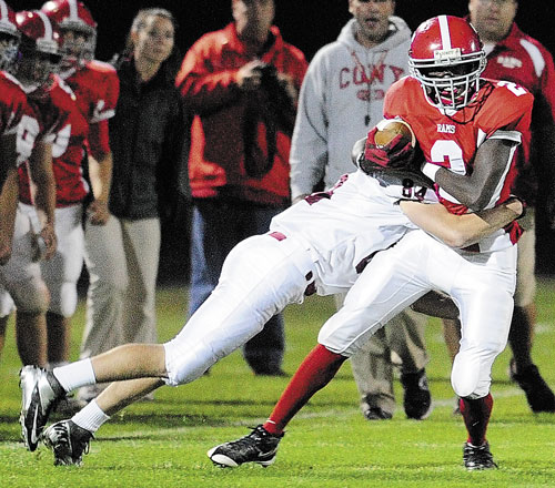 RAISING THE BAR: Cony wide receiver Dayshawn Roberts is part of a receiving group that has helped quarterback Ben Lucas throw for 2,332 yards and 30 touchdowns.