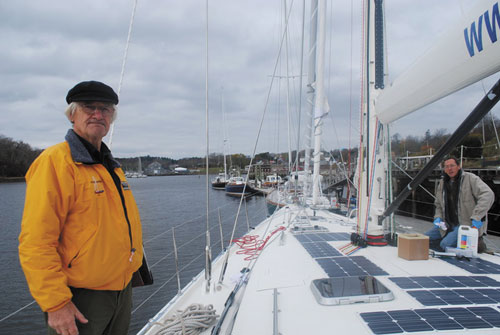 """A BIG TRIP PLANNED: Stanley Paris, 76, standing on the deck of """"Kiwi Spirit,"""" which was launched in Thomaston, has a year to prepare for the around-the-world, solo unassisted voyage that he hopes to complete in 120 days. The record for such a trip is 150 days, set by Dodge Morgan in 1986."""