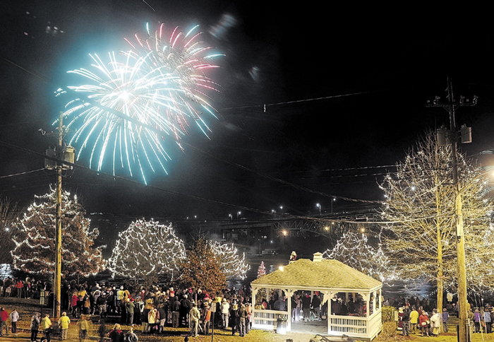 A fireworks display over the Kennebec River capped off tree lighting festivities in Augusta's Waterfront Park last year.