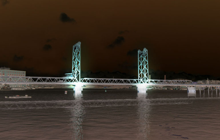 Concept image of bridge illumination from the city of Portsmouth website.