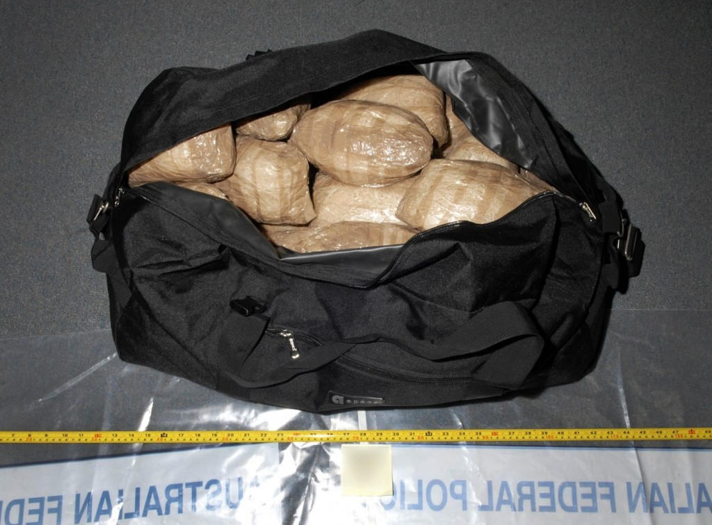 Photo supplied by the Australian Federal Police shows a small portion of the drug haul seized in Sydney.