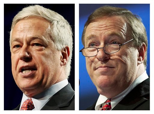 This pair of file photos show Democratic U.S. Rep. Mike Michaud, left, and Republican challenger, Maine Senate president Kevin Raye, right, who face off in the 2nd Congressional District race in Tuesday's election.