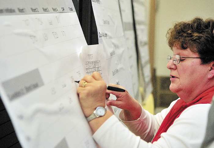 Debbie Pierce, who works in the Augusta City Clerk's office, writes numbers on the big results board on Election Night at Augusta City Center.
