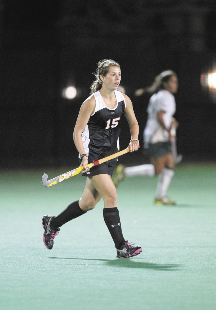 A NEW GAME: Northeastern freshman and Nokomis graduate Leah Edmondson has learned to adjust from Maine high school field hockey to the Division I game, both on and off the field.