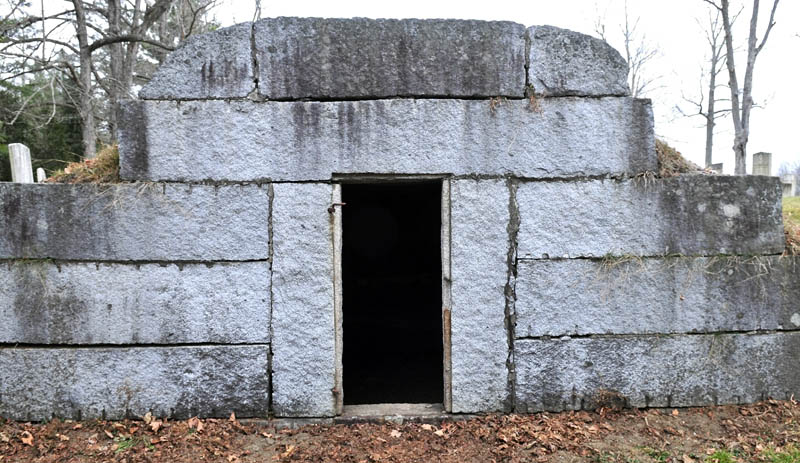The cast iron door to the tomb at Maple Grove Cemetery in Albion has been stolen.