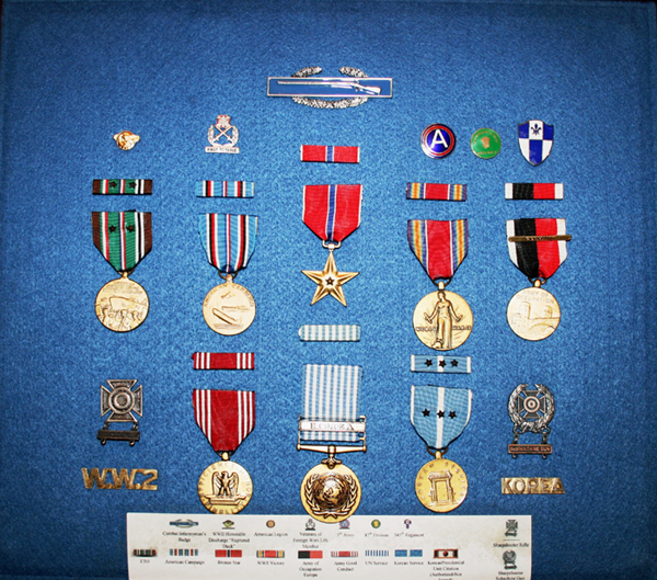 These medals belonged to Norman C. Haugsrud, who enlisted Sept. 28, 1944, in Manchester, N.H. Haugsrud was an infantryman in World War II and saw battle in the Rhineland and elsewhere.