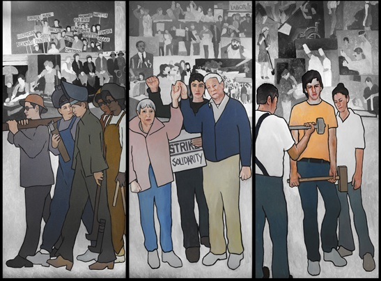 "A detail of the 36-foot mural Maine Gov. Paul LePage ordered to be removed from the lobby of the Department of Labor headquarters building in Augusta in March 2011. The mural, by artist Judy Taylor, was installed in 2008. It depicts several moments in Maine labor history, including a 1937 shoe mill strike in Auburn and Lewiston and ""Rosie the Riveter"" at the Bath Iron Works."