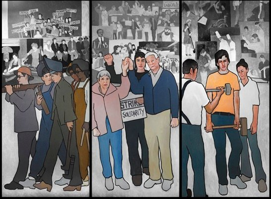 This file photo shows a mural depicting Maine's labor history. A federal appeals court has upheld a ruling that Gov. Paul LePage was within his rights to remove the 11-panel mural from a state office building.