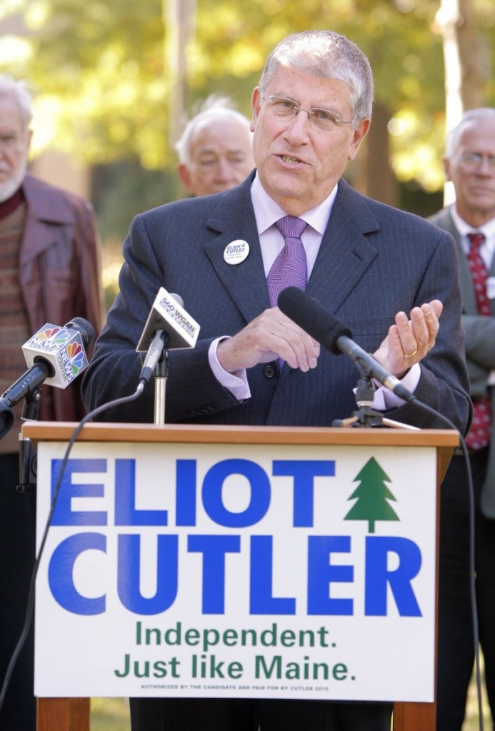 Eliot Cutler speaks at a press conference at Portland s Deering Oaks in October 2010.