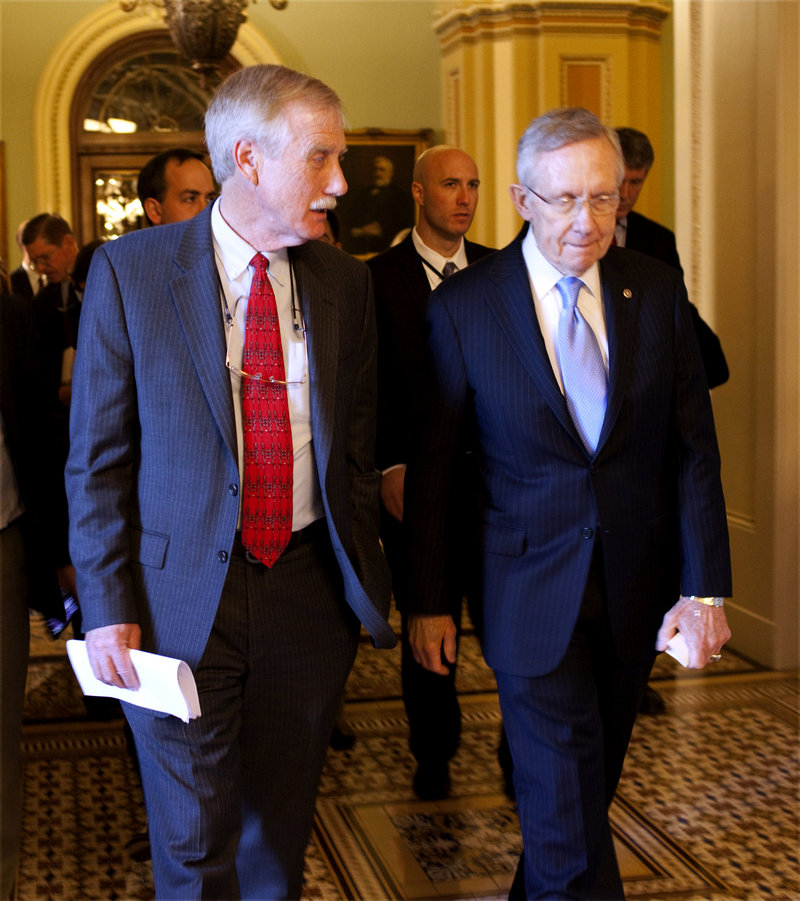 U.S. Senator-elect Angus King is pictured with Sen. Harry Reid, D-Nev., last week.