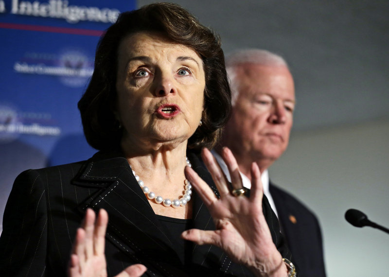 Dianne Feinstein, Senate Intelligence Committee chairman, with Saxby Chambliss, vice chairman, speaks Thursday after a hearing on the attack in Benghazi, Libya. Feinstein said Sunday she has concerns about how talking points were created, but she doesn't believe the White House altered the document for political reasons.