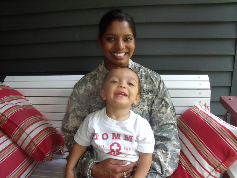 U.S. Army Sgt. Helaina Lake and her 2-year-old son, Aden