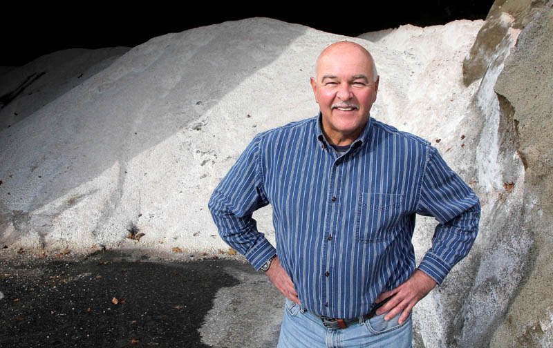 """Waterville Public Works Director Mark Turner said the department uses a ratio of 17 parts sand to one part salt on city roads. """"We've found over the years that's the best mixture, """" he said."""