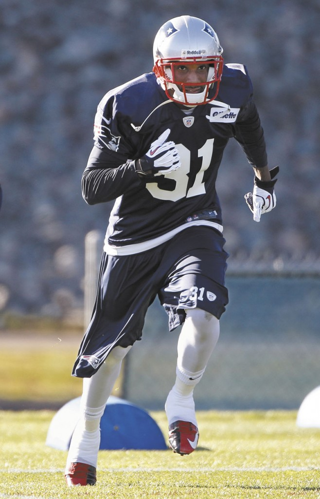 WELCOME TO TOWN: Newly acquired New England Patriots cornerback Aqib Talib practices Wednesday in Foxborough, Mass. Talib was acquired in a trade with the Tampa Bay Buccaneers. Gillette Stadium