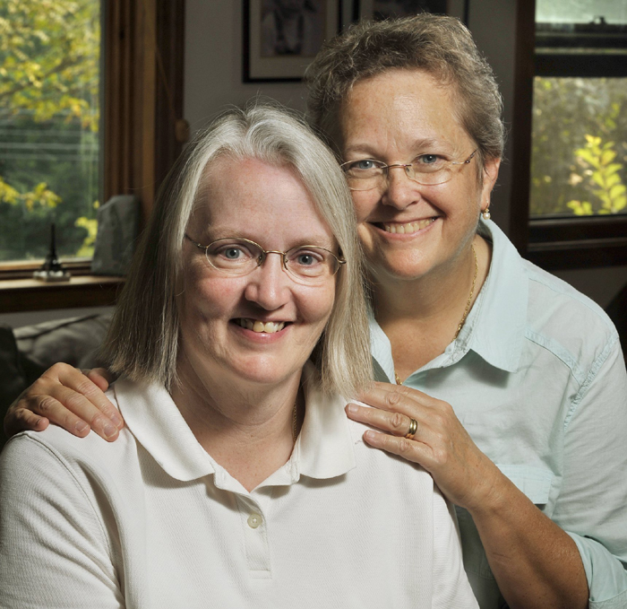 "Sarah Dowling, left, and Linda Wolfe has a ""non-legal wedding"" 16 years ago in Vermont on their fifth anniversary."