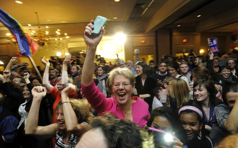 People celebrate after learning same sex marriage had passed at the Mainers United for Marriage party at the Holiday Inn by the Bay Tuesday, November 6, 2012. The Supreme Court will take up California's ban on same-sex marriage, a case that could give the justices the chance to rule on whether gay Americans have the same constitutional right to marry as heterosexuals.