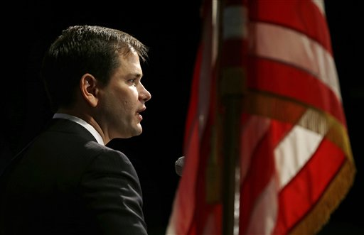 FILE - In this Saturday, Nov. 17, 2012 file photo, U.S. Sen. Marco Rubio, R-Fla., speaks during Iowa Gov. Terry Branstad's annual birthday fundraiser in Altoona, Iowa. Rubio and other prominent Republicans are calling for a sweeping review of how to prevent tragedies like the Newtown, Conn., massacre. For years, Republicans have adhered fiercely to their bedrock conservative principles, resisting Democratic calls for tax hikes, comprehensive immigration reform and gun control. Now, seven weeks after an electoral drubbing, some party leaders and rank-and-file alike are signaling a willingness to bend on all three issues. (AP Photo/Charlie Neibergall)