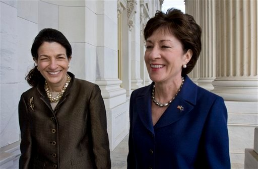 In this Oct. 22, 2009, file photo, Maine's Republican senators, Olympia Snowe, left, and Susan Collins, are seen on Capitol Hill in Washington.