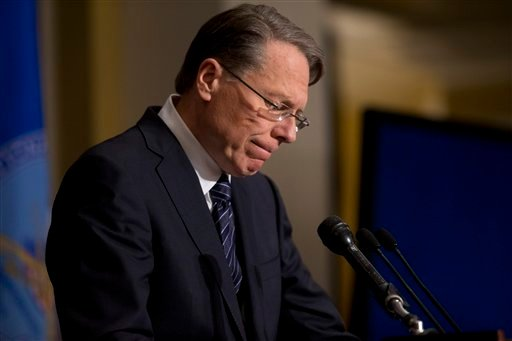 National Rifle Association chief executive Wayne LaPierre speaks during a news conference Friday in response to the Connecticut school shootings in Washington.