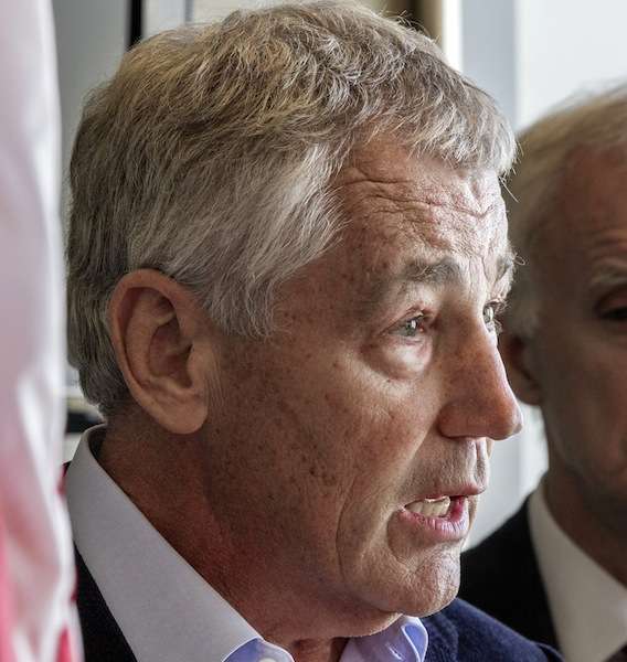 This Nov. 1, 2012, file photo shows former Nebraska Republican Sen. Chuck Hagel speaking in Omaha, Neb. President Barack Obama's possible pick of Republican Chuck Hagel to run the Pentagon raises serious concerns among some of his former Senate colleagues, who question his pronouncements on Iraq, Israel and the Middle East. The reservations publicly expressed by a few Republicans and even a Democrat hardly rival the unyielding GOP objections to U.N. Ambassador Susan Rice, who withdrew from consideration last week for secretary of state in the face of relentless attacks mostly over her public statements about the Sept. 11 assault on the diplomatic mission in Benghazi, Libya. (AP Photo/Nati Harnik)