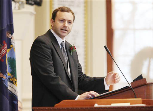 Newly-elected Speaker of the House Mark Eves of North Berwick speaks Wednesday at the swearing in ceremony for new representatives at the State House in Augusta.