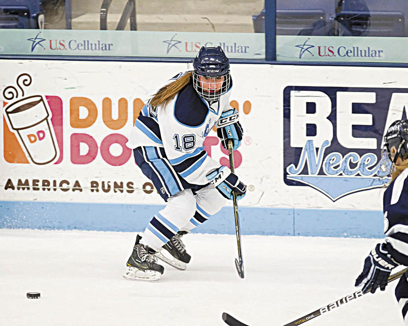 NEW WORLD: Waterville graduate Katy Massey has gone from playing hockey with boys in high school to playing Division I women's hockey at the University of Maine.