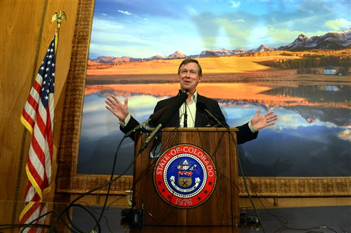 Gov. John Hickenlooper talks about Amendment 64 in Denver on Monday. Marijuana for recreational is now legal in Colorado.