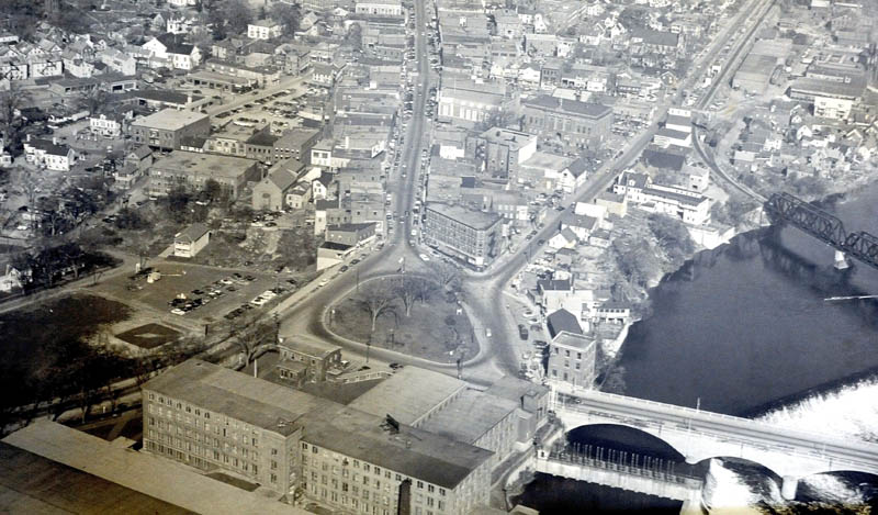 An aerial view of the Hathaway intersection, showing the old rotary and two-way traffic in downtown Waterville.
