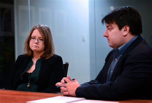 Melanie Norwood, left, and attorney, Mark Chalos, talk about the condition of Norwood's mother, Marjorie Norwood, in Nashville, Tenn. Marjorie Norwood, 59, became sick with fungal meningitis after getting steroid shots produced by the New England Compounding Center.