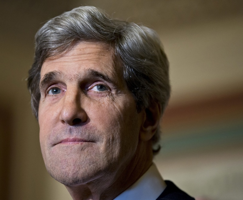 This Dec. 3, 2012 file photo shows Senate Foreign Relations Chairman Sen. John Kerry, D-Mass., at a news conference on Capitol Hill in Washington. (AP Photo/J. Scott Applewhite, File)