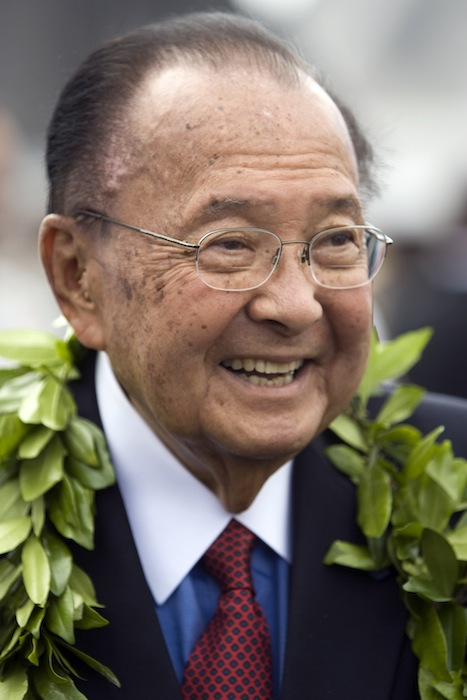 In this Friday, July 9, 2010 file photo, U.S. Sen. Daniel Inouye, D-Hawaii, is seen at the ceremony welcoming F-22 Raptor fighter jets to Joint Base Pearl Harbor-Hickham in Honolulu. Inouye has died of respiratory complications, Monday, Dec. 17, 2012, according to Inouye's office. He was 88. (AP Photo/Marco Garcia, File) Hawaii