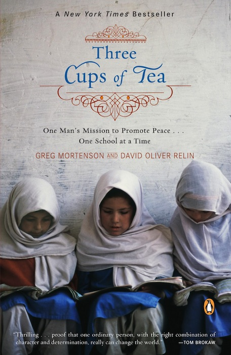 "This book cover image released by Viking shows the paperback release of ""Three Cups of Tea: One Man's Mission to Promote Peace... One School at a Time,"" by Greg Mortenson and David Oliver Relin. Relin committed suicide in Corbett, Ore., outside Portland, on Nov. 14, said the deputy Multnomah County medical examiner, Peter Bellant, Sunday, Dec. 2, 2012. Relin was 49. (AP Photo/Viking)"