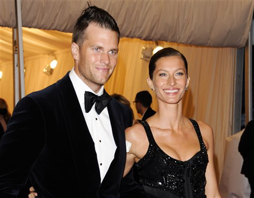 A May 7, 2012, photo of New England Patriots quarterback Tom Brady and his wife, Gisele Bundchen, attending a Metropolitan Museum of Art Costume Institute gala benefit in New York.