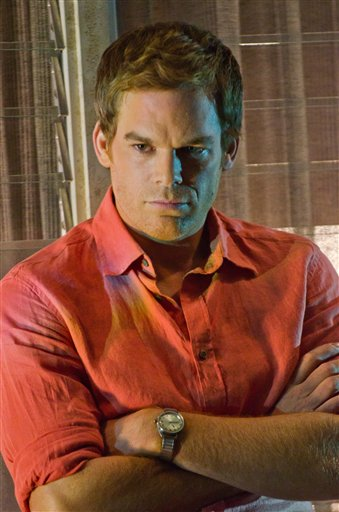 "Michael C. Hall portrays Dexter Morgan in a scene from ""Dexter."" The show about a serial killer is the top-rated episode of any series in Showtime history."
