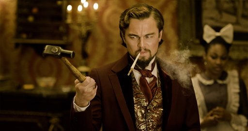 "Leonardo DiCaprio as Calvin Candle in Quentin Tarantino's ""Django Unchained"": ""Barrels of squishing, squirting blood."""