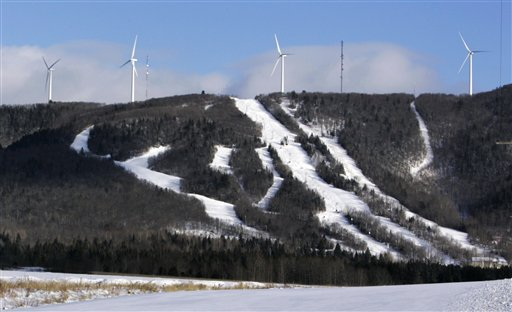 Wind turbines stand atop Mars Hills Mountain in Mars Hill in this Jan. 17, 2007 file photo.