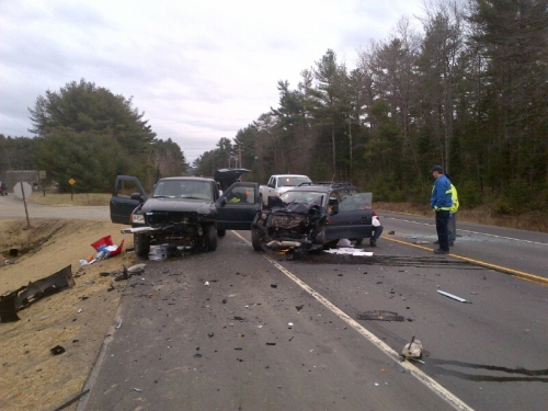 State police investigate the fatal accident on Route 17, in the Coopers Mills section near the Windsor-Whitefield town line, on Friday.