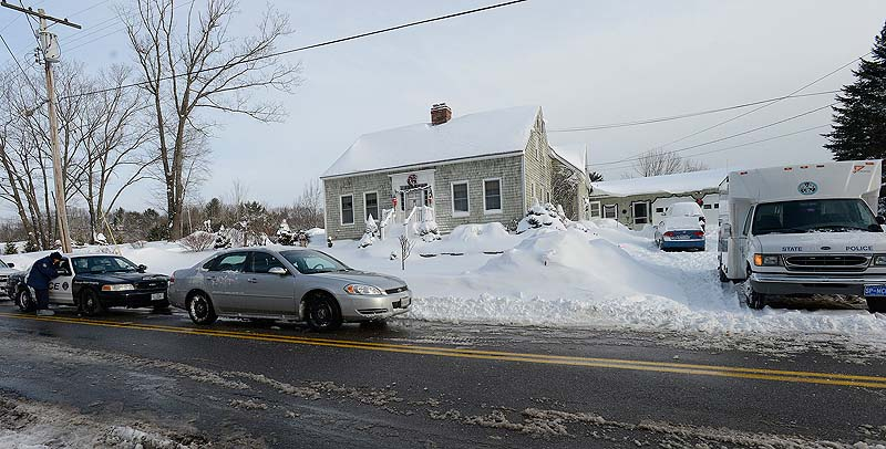 Police are on the scene Sunday at 17 Sokokis Road in Biddeford, where a shooting took place Saturday night.