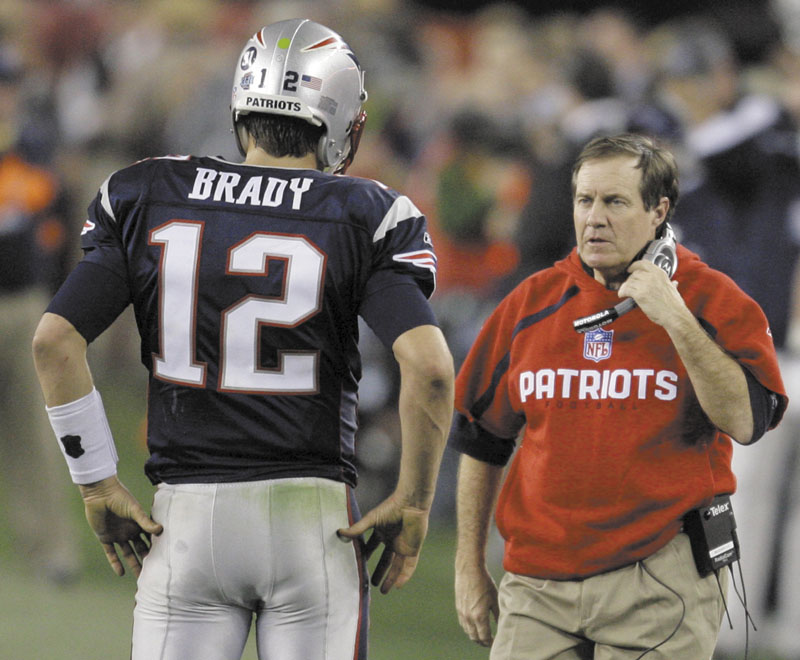 A TEST AWAITS: New England quarterback Tom Brady, left, and head coach Bill Belichick will face one of their toughest tests of the season when the play the San Francisco 49ers tonight in Foxborough, Mass. The 49ers defense, led by Aldon Smith, has allowed the fewest points in the NFL. NFL
