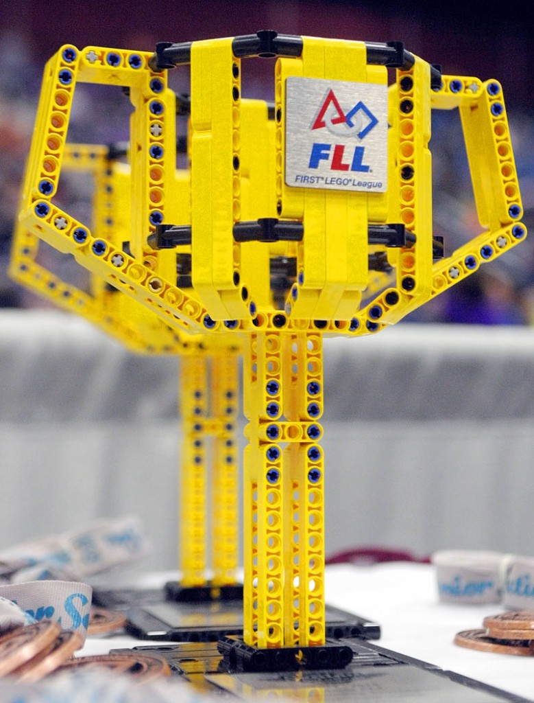 The trophies are made of LEGOs at at the 13th annual Maine First LEGO League Championship on Saturday, at the Augusta Civic Center.