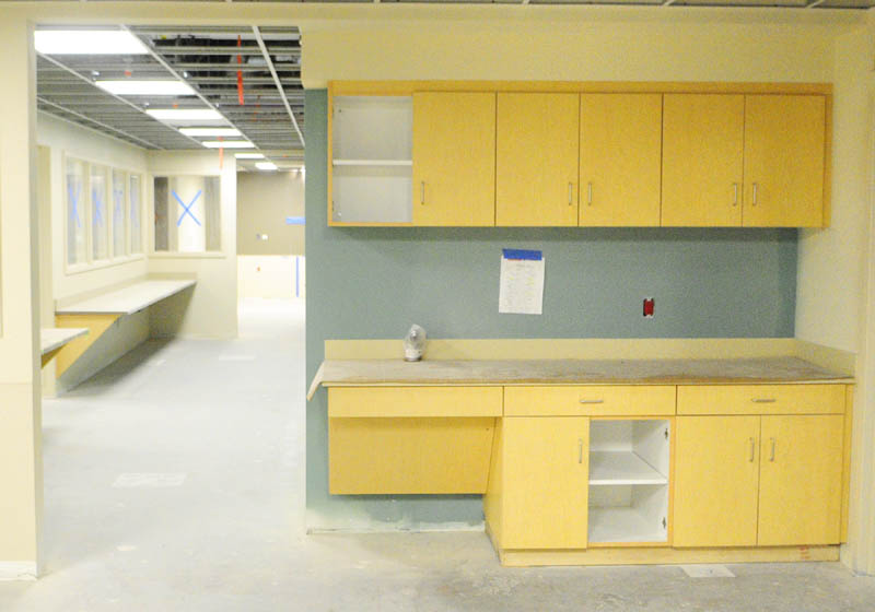 There are several counters and cupboards installed at the new MaineGeneral regional hospital in Augusta. The cabinets, counters and some other items are prefabricated at Windham Millworks's shop before being shipped to Augusta and installed.