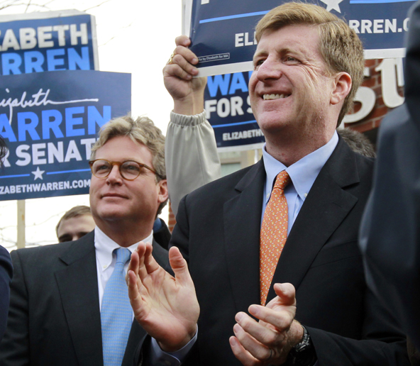 Edward M. Kennedy Jr., left, reportedly is considering a run for the Senate if Sen. John Kerry, D-Mass., becomes secretary of state. Here, he attends a Nov. 5 rally for Elizabeth Brown with his brother, former U.S. Rep. Patrick Kennedy, D-R.I. Brown was elected to represent Massachusetts in the Senate..