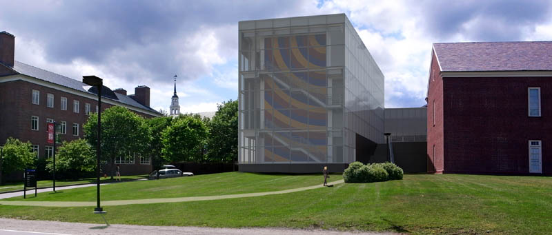 An artist's concept of how the Alfond-Lunder Family Pavilion, in middle, will look when the addition to the Colby College Museum of Art is finished in 2013.