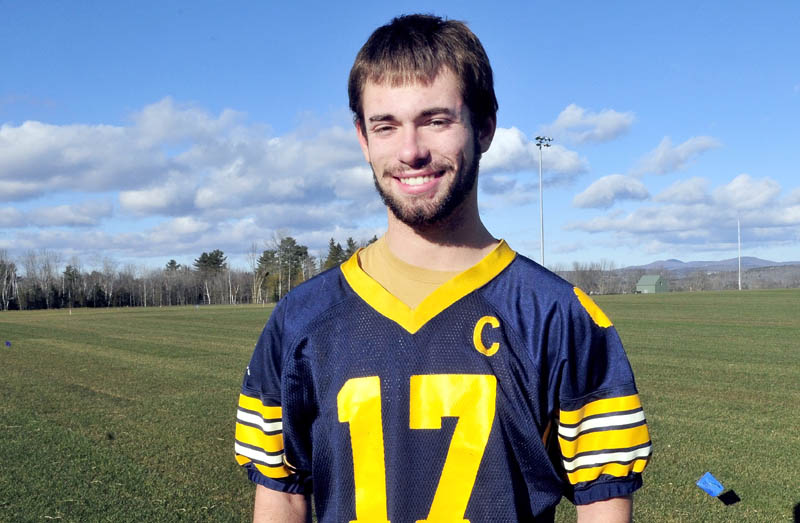 Staff photo by David Leaming Mt. Blue's Jordan Whitney is the Morning Sentinel Football Player of the year.