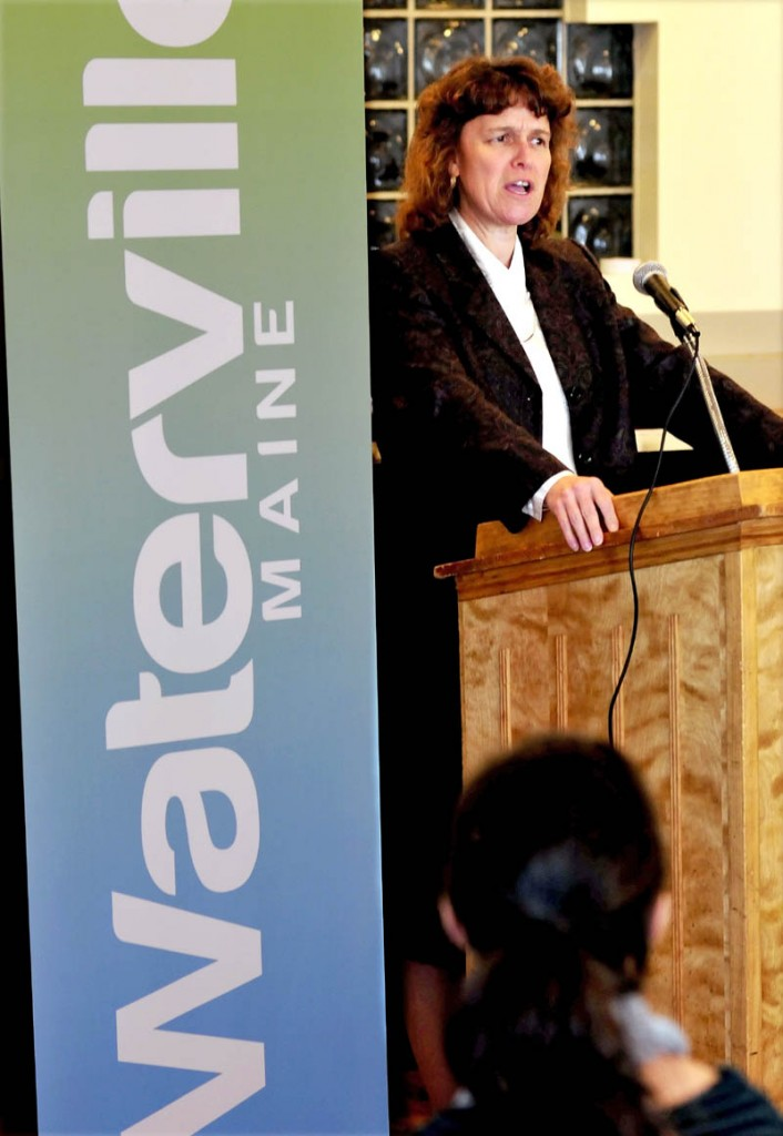 Thomas College President Laurie Lachance speaks to the Leading Women's Luncheon of the Mid-Maine Chamber of Commerce in Waterville on Tuesday.