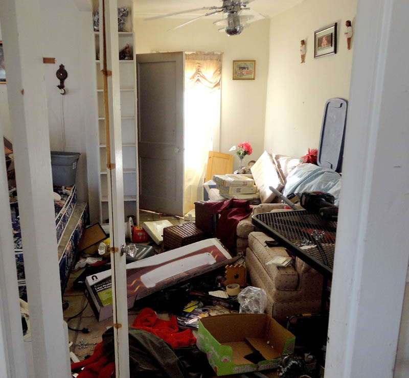 Damage inside a Pine Street home in Waterville.