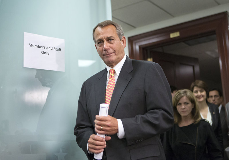 "House Speaker John Boehner, R-Ohio, would not give reporters any indication of any progress made after he met with President Obama for what aides called ""frank"" talks."