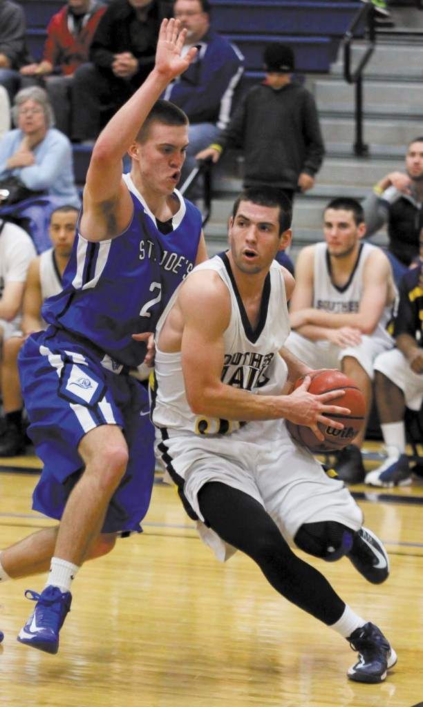BACK IN ACTION: Maranacook graduate Mike Poulin has returned to the court for the University of Southern Maine men's basketball team after missing most of two seasons with injuries. Poulin is averaging 8.4 points and 2.4 assists per game for the Huskies. Contributed photo