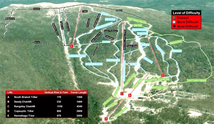 Saddleback ski area's trail map in 2003, during the first season under the Berry family's ownership.