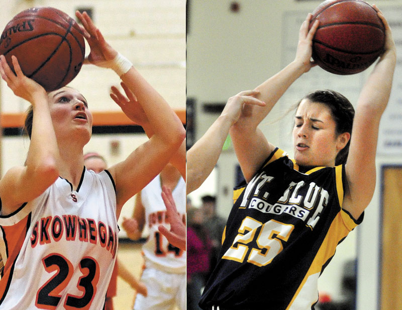 HERE WE GO AGAIN: Skowhegan's Adriana Martineau, left, and Mt. Blue's Gabby Foy, right, lead their teams into a season-opening Kennebec Valley Athletic Conference Class A matchup tonight. The two teams met in the playoffs last season, with Skowhegan rallying from a 17-point halftime deficit to a 56-55 overtime win.